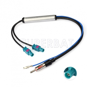 Superbat Dual Fakra Radio Aerial Antenna Amplified Adapter Diversity System for VW AUDI