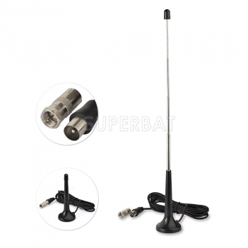 Indoor 75 ohm Digital Radio Telescopic Antenna with Magnetic Base TV Adapter to F Connector 2 Kit for USB TV Tuner DVB-T Television DAB Radio